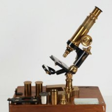 Antigüedades: MICROSCOPIO DE LABORATORIO. RADIGUET AND MASSIOL OPTICOS. FRANCIA. SIGLO XIX. . Lote 132542546