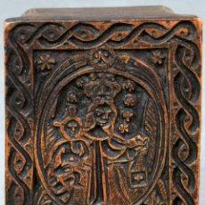 Antigüedades: SELLO IMAGEN DE LA VIRGEN DEL CARMEN EN MADERA TALLADA PARA XILOGRAFÍA SIGLO XIX. Lote 132574290