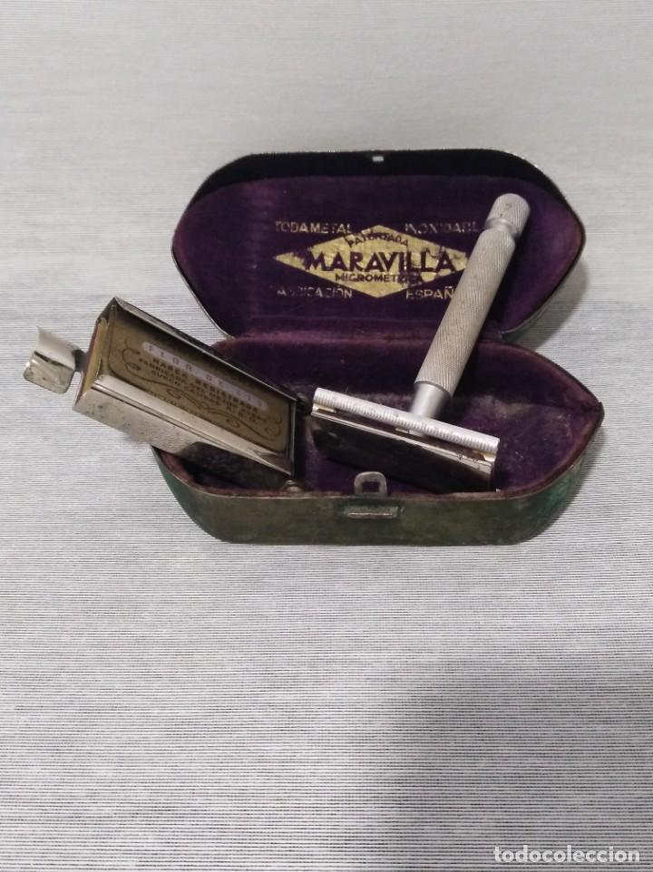 Antigüedades: Antigua maquinilla de afeitar de la marca Maravilla - Foto 3 - 132655354