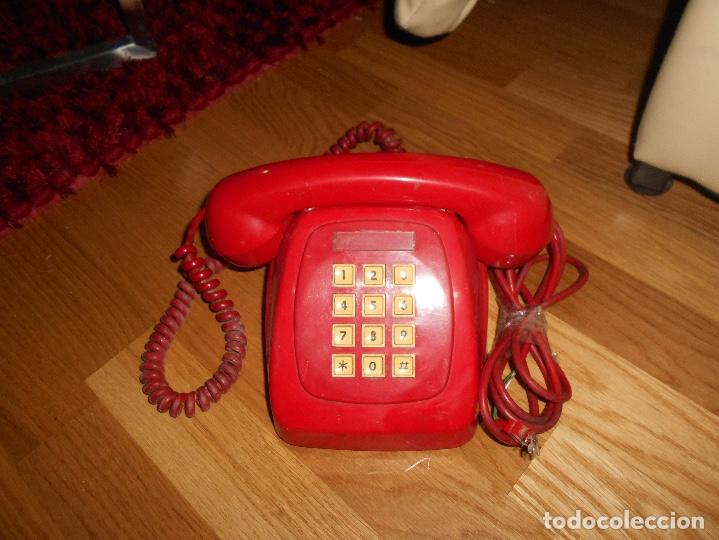 Teléfonos: Antiguo teléfono rojo de teclas modelo HERALDO Citesa Málaga con toma actual Funcionando AÑOS 60 70 - Foto 5 - 132828510