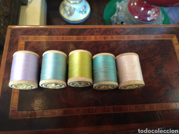 Antigüedades: Antigua Caja Hilaturas Fabra y Coats con Carretes de Hilo - Foto 3 - 133243361