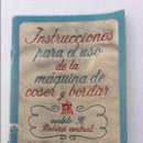 Antigüedades: LIBRO DE INSTRUCCIONES PARA MAQUINA DE COSER ALFA. Lote 133296386
