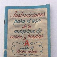 Antigüedades: LIBRO DE INSTRUCCIONES PARA MAQUINA DE COSER ALFA. Lote 218101015