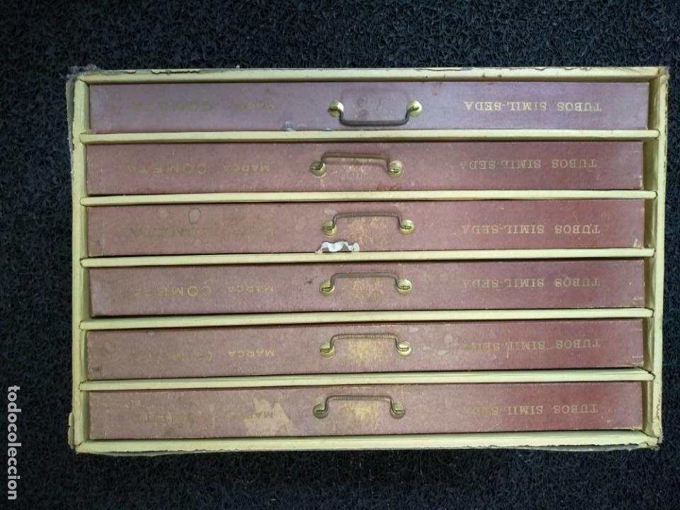 Antigüedades: Caja de hilos de cartón con seis cajones - Foto 2 - 133417338