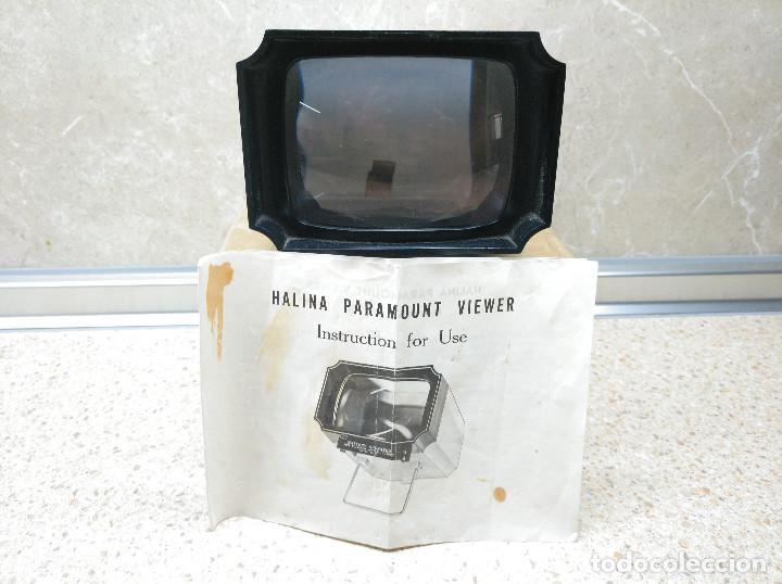 PROYECTOR VISOR DIAPOSITIVAS HALINA PARAMOUNT VIEWER EN CAJA ORIGINAL. (Antigüedades - Técnicas - Aparatos de Cine Antiguo - Proyectores Antiguos)