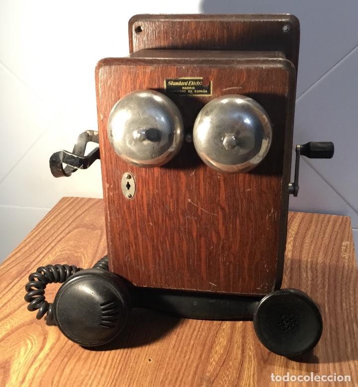 TELÉFONO MURAL DE MADERA Y BAQUELITA, CON MAGNETO, DE STANDARD ELÉCTRICA PARA LA CTNE (Antigüedades - Técnicas - Teléfonos Antiguos)