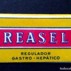 Antigüedades: HOJA DE AFEITAR ANTIGUA,REASEL,REGULADOR GASTRO HEPÁTICO,CORTESIA DE ROCADOR (DESCRIPCIÓN). Lote 133914130