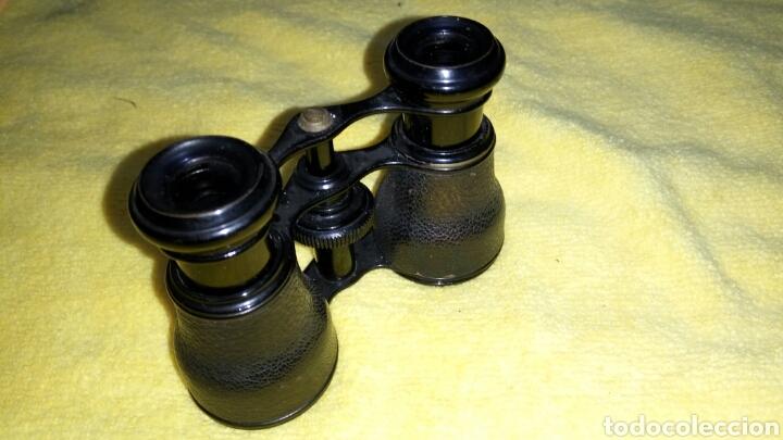 ANTIGUOS GEMELOS DE TEATRO, PIEL NEGRA (Antigüedades - Técnicas - Instrumentos Ópticos - Binoculares Antiguos)