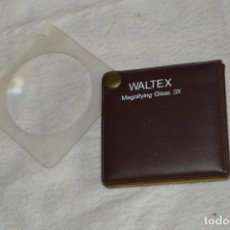 Antigüedades: ANTIGUA LUPA MAGNIFICADORA DE BOLSILLO - 3 AUMENTOS - WALTEX 3X - MADE IN HONG KONG - ENVÍO 24H. Lote 134642774