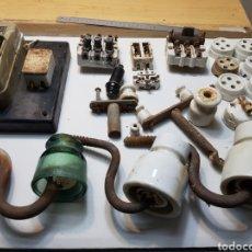 Antigüedades: LOTE COMPONENTES ELÉCTRICOS ANTIGUOS DE PORCELANA. Lote 134786461