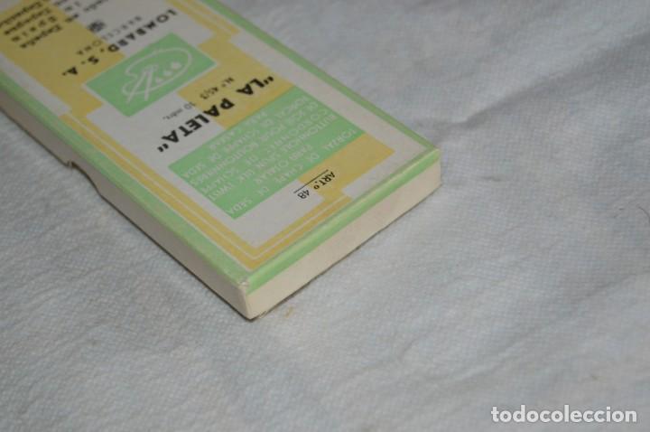 Antigüedades: ANTIGUA CAJA DE HILOS LA PALETA - COMPLETA - SEDA - VERDE HOJA FUERTE 2224 - VINTAGE - ENVÍO24H - Foto 5 - 134982578