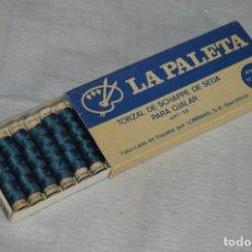 Antigüedades: ANTIGUA CAJA DE HILOS LA PALETA - COMPLETA - SEDA - COLOR Nº 2739 - VINTAGE - ENVÍO24H. Lote 134982810