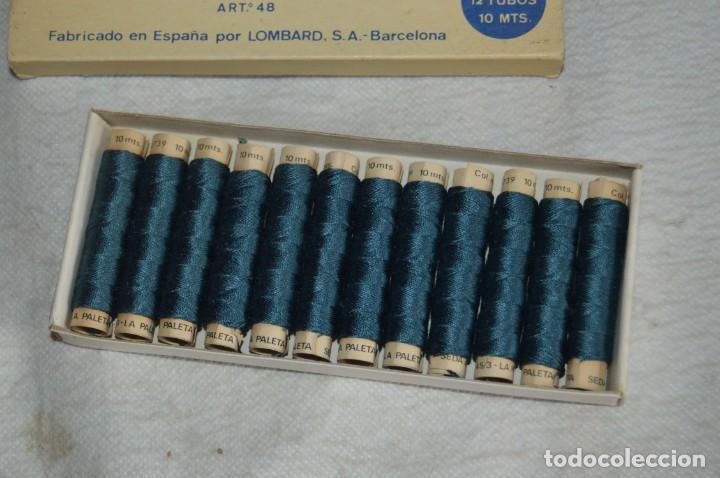 Antigüedades: ANTIGUA CAJA DE HILOS LA PALETA - COMPLETA - SEDA - COLOR Nº 2739 - VINTAGE - ENVÍO24H - Foto 8 - 134982810