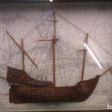 Antigüedades: CUADRO MADERA CON BARCO 69X47X10, ANTIGUO. Lote 135922654