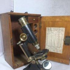 Antigüedades: MICROSCOPIO J. H. STEWARD LONDON SIGLO XIX EN SU CAJA FUNCIONANDO DECORATIVO LATÓN ACERO. Lote 136010278