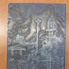 Antigüedades: ANTIGUA PLACA DE TÓRCULO PARA IMPRENTA CON GRABADO DE VISTA DE SALAMANCA, CATEDRAL, TENTENECIO. Lote 136069754