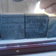 Antigüedades: ¡¡PRECIOSOS MOLDES DE INPRENTA AÑOS 40 50¡¡¡¡JASANADA,,TIZAS,,TINTAS,,ZARAGOZA¡¡UNICOS EN TC¡¡. Lote 136105658
