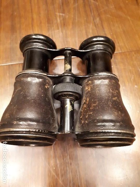 Antigüedades: Antiguos Binoculares o Catalejo de cuero piel y metal. Ópera. - Foto 5 - 136231686