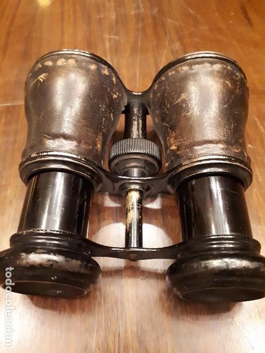 Antigüedades: Antiguos Binoculares o Catalejo de cuero piel y metal. Ópera. - Foto 6 - 136231686
