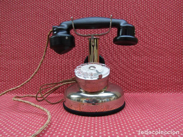 ANTIGUO TELEFONO FRANCES DE MESA AÑO: 1931, MODELO PTT 24. (MODELO CROMADO Y CON DISCO). (Antigüedades - Técnicas - Teléfonos Antiguos)