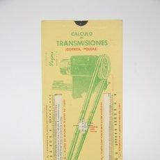 Antigüedades: ANTIGUA REGLA - CALCULO DE TRANSMISIONES, CORREA, POLEAS, ENGRANAJE, CADENAS- EDIT VAGMA Nº 16, 1960. Lote 136374262