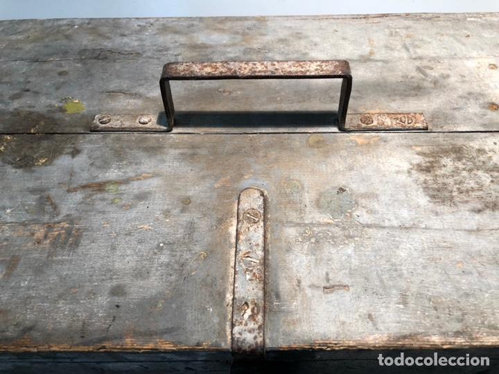 Antigüedades: CAJA DE HERRAMIENTAS DE MADERA ANTIGUA. - Foto 7 - 136377366