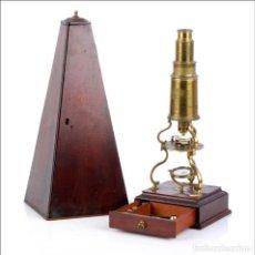 Antigüedades: EXTRAORDINARIAMENTE RARO MICROSCOPIO TIPO CULPEPER POR JOHN BLEULER. INGLATERRA, 1820. Lote 136690166