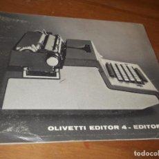 Antigüedades: INSTRUCCIONES OLIVETTI EDITOR 4C. Lote 136879774