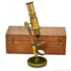 Antigüedades: MICROSCOPIO INCLINABLE ANTIGUO FRANCES (1870). Lote 136761802
