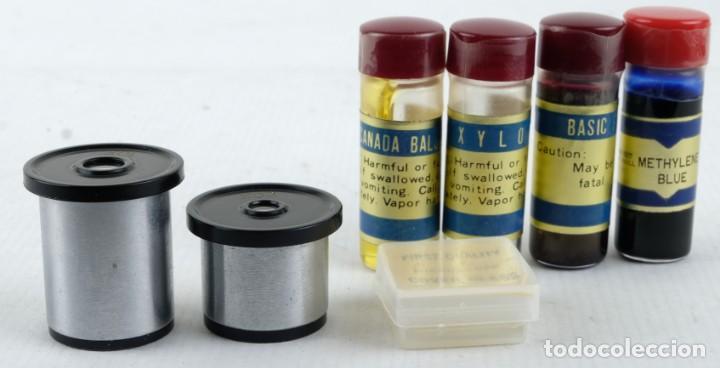 Antigüedades: Microscopio Favila con accesorios en su estuche años 80 - Foto 5 - 137143206