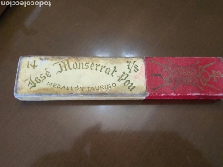 Antigüedades: NAVAJA AFEITAR JOSE MONTSERRAT MEDALLON TAURINO CAJA VACÍA - Foto 2 - 137201697