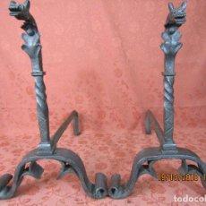 Antigüedades: MORILLOS DRAGON HIERRO FORJADO. Lote 137273958