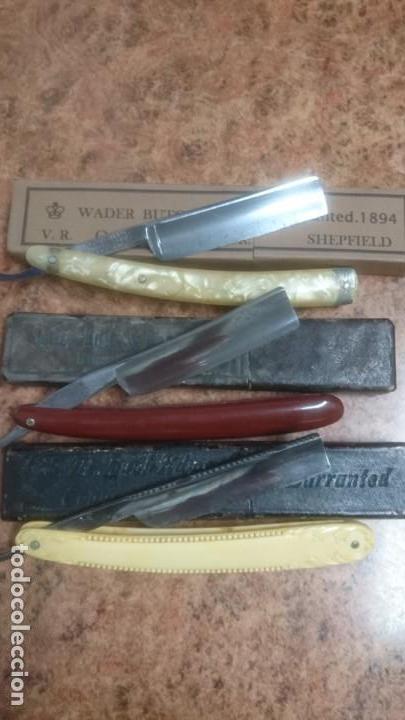 Antigüedades: Lote navajas de afeitar de barbero peluquero - Foto 3 - 137328562