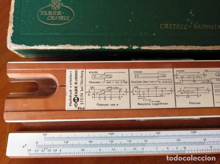 Antigüedades: REGLA DE CALCULO A.W. FABER CASTELL 1/54 DARMSTADT CON SU CAJA CALCULADORA SLIDE RULE RECHENSCHIEBER - Foto 11 - 137393518