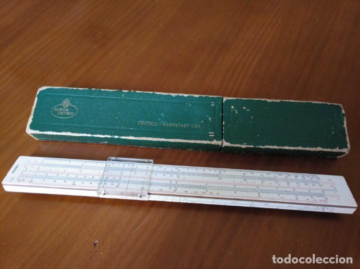 Antigüedades: REGLA DE CALCULO A.W. FABER CASTELL 1/54 DARMSTADT CON SU CAJA CALCULADORA SLIDE RULE RECHENSCHIEBER - Foto 13 - 137393518