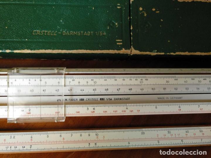 Antigüedades: REGLA DE CALCULO A.W. FABER CASTELL 1/54 DARMSTADT CON SU CAJA CALCULADORA SLIDE RULE RECHENSCHIEBER - Foto 21 - 137393518