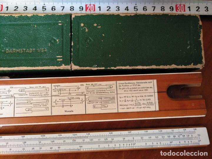 Antigüedades: REGLA DE CALCULO A.W. FABER CASTELL 1/54 DARMSTADT CON SU CAJA CALCULADORA SLIDE RULE RECHENSCHIEBER - Foto 26 - 137393518