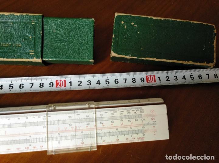 Antigüedades: REGLA DE CALCULO A.W. FABER CASTELL 1/54 DARMSTADT CON SU CAJA CALCULADORA SLIDE RULE RECHENSCHIEBER - Foto 46 - 137393518