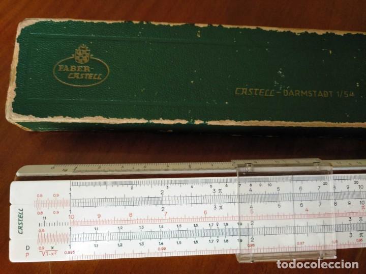Antigüedades: REGLA DE CALCULO A.W. FABER CASTELL 1/54 DARMSTADT CON SU CAJA CALCULADORA SLIDE RULE RECHENSCHIEBER - Foto 58 - 137393518