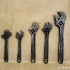 Antigüedades: LOTE DE 5 ANTIGUAS LLAVES INGLESAS SUAR ZUBI ONDO IREGA IRIMO . Lote 137506006