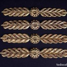 Antigüedades: ANTIGUO ADORNO EN LATÓN DORADO BAJORRELIEVE. 4 UDS. Lote 137849482