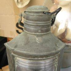 Antigüedades: ANTIGUO FAROL LAMPARA O LINTERNA FERROCARRIL EN METAL Y VIDRIO. Lote 137928154