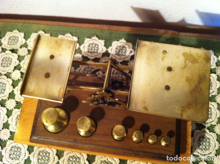 Antigüedades: RARA BALANZA VICTORIANA CON SUS 6 SINGULARES PESAS CON 20x11cm (BP34) - Foto 9 - 138071350