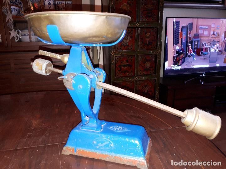 Antigüedades: Antigua Balanza Báscula de Volador ESK. Magriña. Hierro - Foto 2 - 138798766