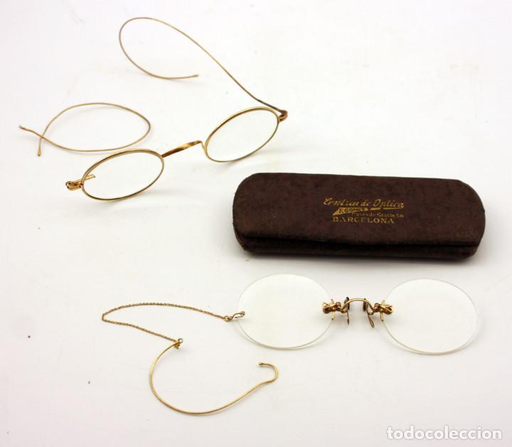 LOTE DE 2 ANTIGUAS GAFAS O QUEVEDOS DE ORO (Antigüedades - Técnicas - Instrumentos Ópticos - Gafas Antiguas)