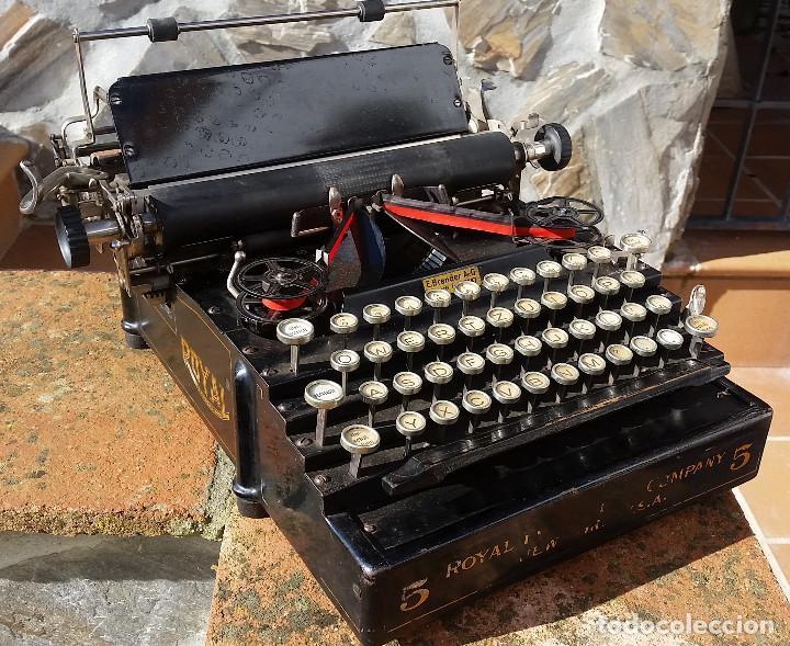 ROYAL NO. 5 , MAQUINA DE ESCRIBIR TIPO FLATBED, USA, MUY ANTIGUA, FUNCIONANDO - VER VIDEO (Antigüedades - Técnicas - Máquinas de Escribir Antiguas - Royal)
