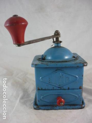 Antigüedades: Molinillo Cafe Elma - Metal Azul - Foto 2 - 139178062