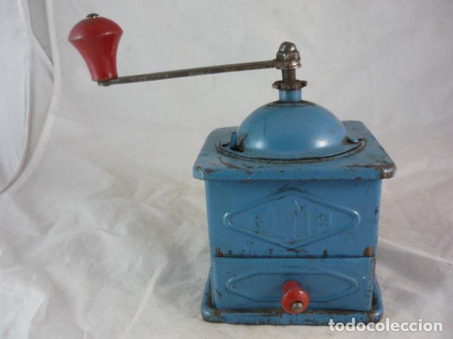 Antigüedades: Molinillo Cafe Elma - Metal Azul - Foto 3 - 139178062