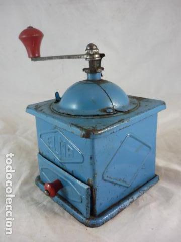 Antigüedades: Molinillo Cafe Elma - Metal Azul - Foto 4 - 139178062