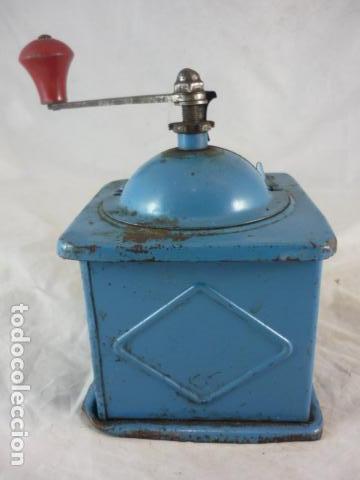 Antigüedades: Molinillo Cafe Elma - Metal Azul - Foto 5 - 139178062